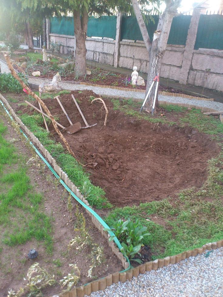 Construyendo mi estanque para tortugas con parte de for Estanque construccion