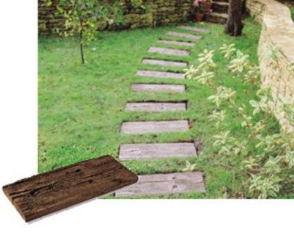 Traviesas de hormig n imitaci n a madera se pueden hacer for Balancines de madera para jardin